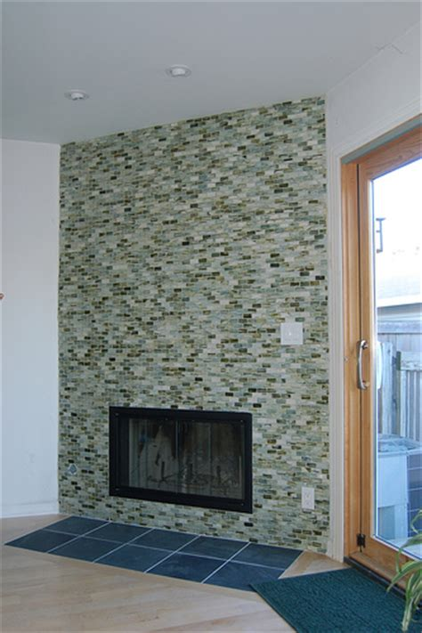 Glass Tile Fireplace Pictures by Fireplaces On Mantles Glass Tiles And Modern