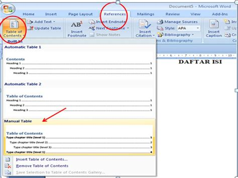 cara membuat halaman di word 2010 secara manual membuat daftar isi table of contents di word 2007 anak