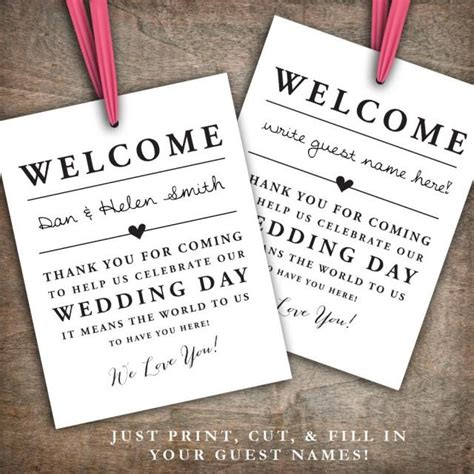 thank you letter for wedding gift bags instant printable wedding welcome bag tags