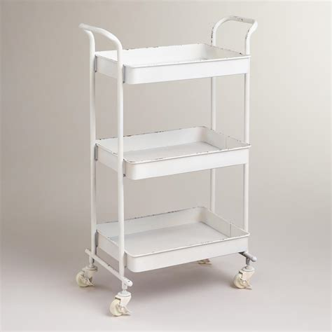 bathroom carts white austin 3 tier metal cart world market