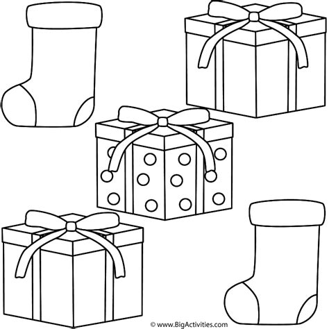 coloring sheets of christmas presents christmas gifts with stockings coloring page christmas