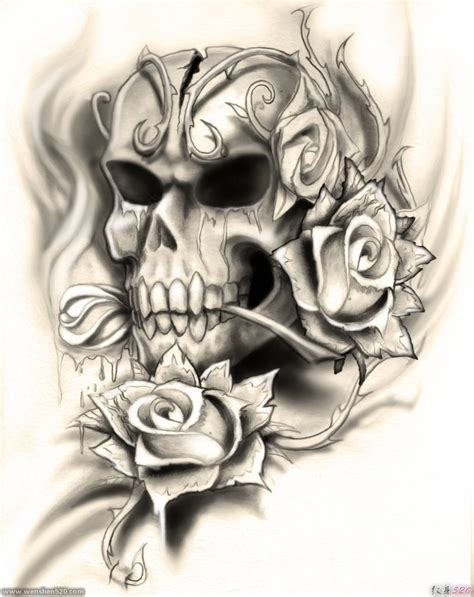 多款黑灰色骷髅头和玫瑰花纹身图案手稿素材第4页