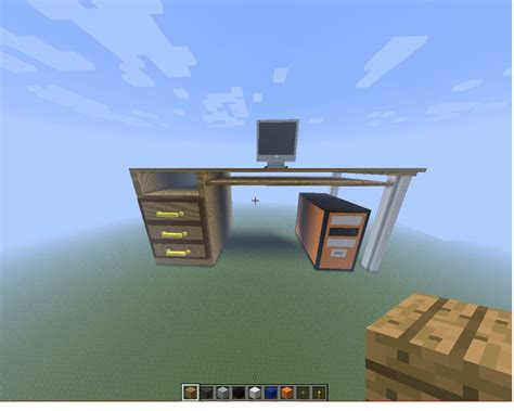 desk with computer minecraft project