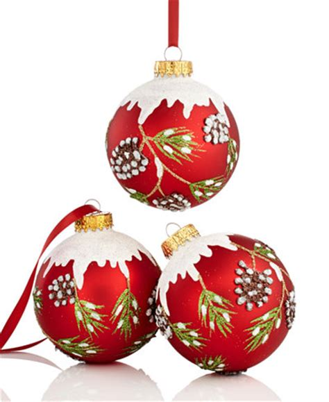 kurt adler set of 3 pine cone ball ornaments holiday