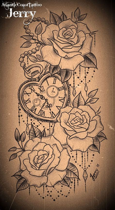 tatto ideas 2017 heart shaped pocket watch and roses