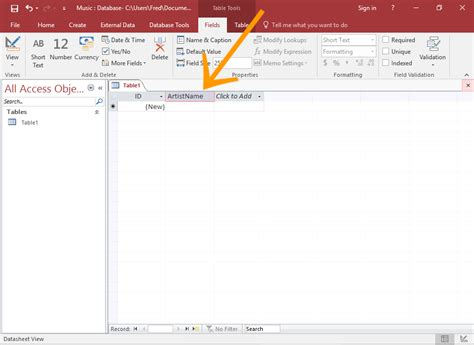 access table design view font how to create a table in datasheet view in access 2016