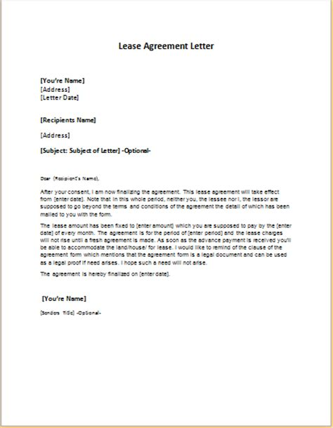 Of Lease Agreement Sle Letter Lease Agreement Letter Template Word Excel Templates