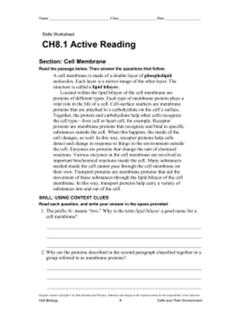 active reading section scientific methods answers ch8 1 directed reading section cell membrane