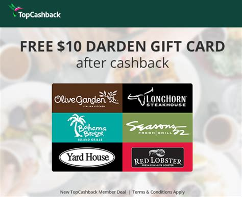 Where Can You Use Red Lobster Gift Cards - new topcashback members get free 10 darden gift card