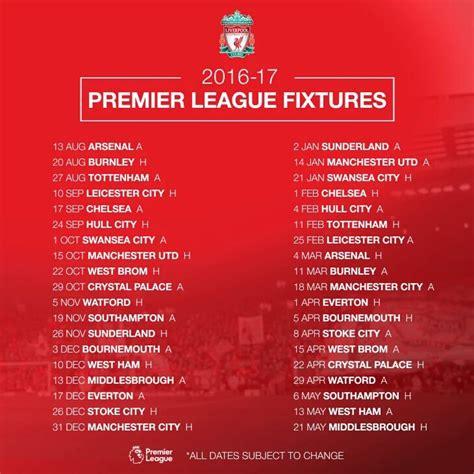 arsenal home fixtures image gallery liverpool fixtures 16 17