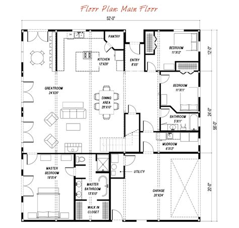 gambrel house floor plans great plains gambrel barn home main floor plan barn