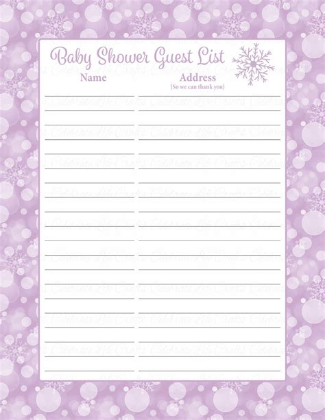 List For A Baby Shower by Printable Baby Shower Guest List Portablegasgrillweber