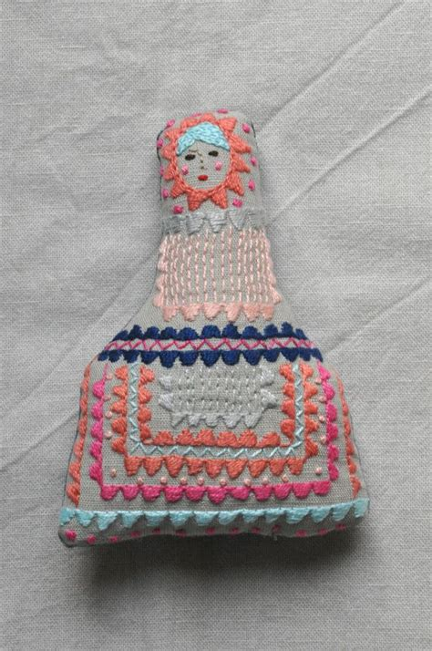 Handmade Fabric Toys - handmade fabric embroidered doll eszterda bambino by