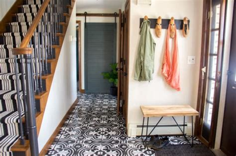 Faux Cement Tile Painted Floors   Bright Green Door