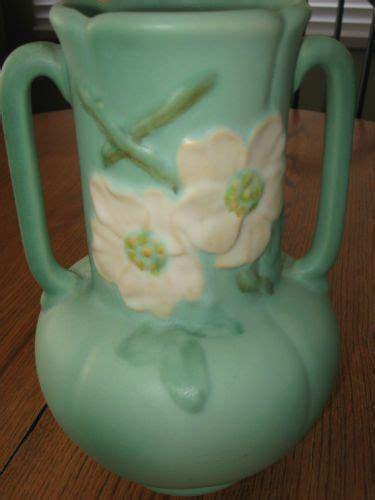 Roseville Vases Patterns Vintage Weller Pottery Vase Matte Green Dogwood Wildrose