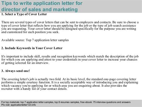cover letter for application sales and marketing director of sales and marketing application letter