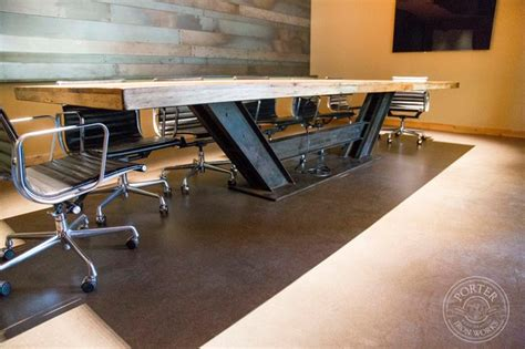 modern industrial conference table conference table reclaimed tobacco barn brown