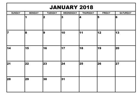 printable calendar page january 2018 free printable calendar 2018 templates free printable