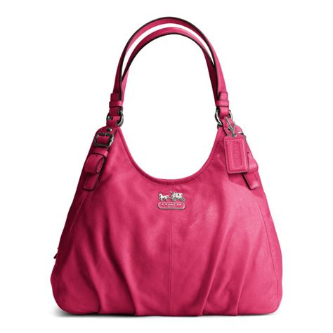 Coach Mini Christie Satchel Pink Fuschia Tas Coach Original lyst coach leather maggie shoulder bag in pink