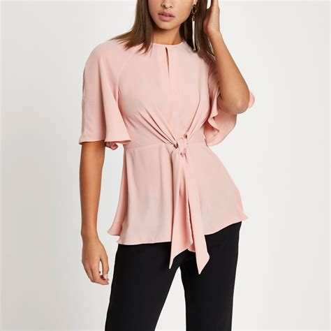 Sleeve Tie Front Blouse light pink tie front sleeve blouse blouses tops