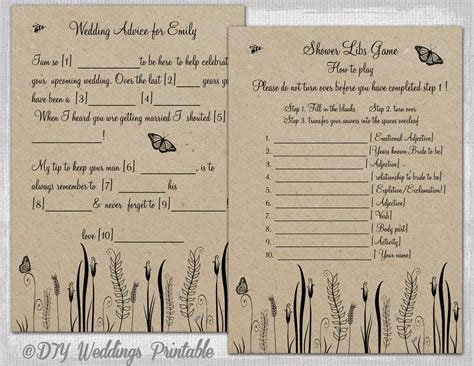wedding mad libs template printable rustic diy butterfly