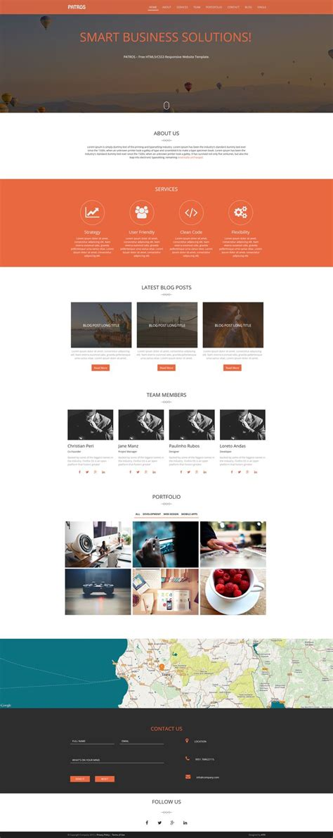 layout css3 free patros free html5 css3 responsive website template