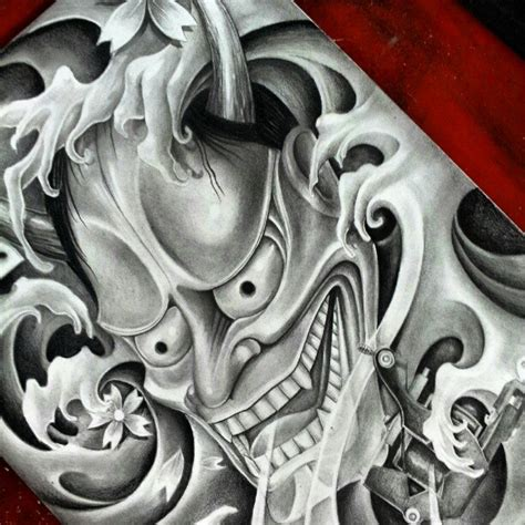hannya mask tattoo betekenis hannya pencil and pen drawing by fourspeedindonesia on