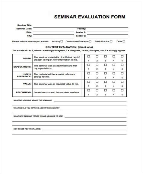 seminar evaluation form 23 sle workshop feedback form