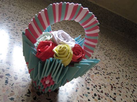 How To Make Flower Basket With Paper - 3d origami flower basket