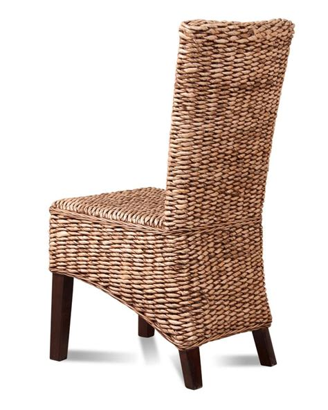 Dining Room Wicker Chairs Rattan Wicker Dining Room Chair Banana Leaf Weave Solid Mahogany Wood Frame Ebay