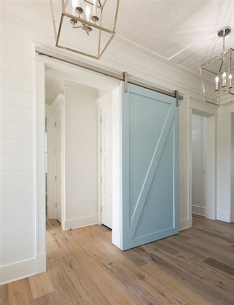 Blue Barn Doors Powder Blue Barn Door On Rails Transitional Kitchen