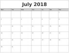 July 2018 Calendar Printable July 2018 Monthly Calendar Printable