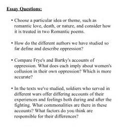 Exles Of Essay Questions by Essay Questions