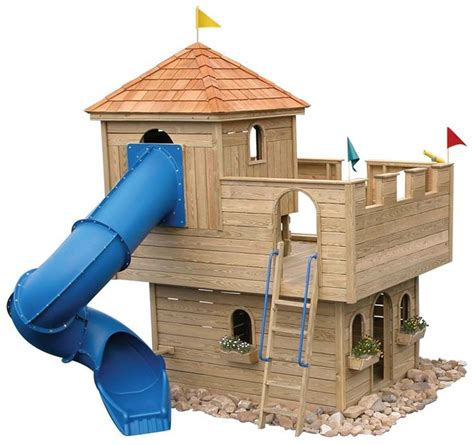 backyard castle playhouse castle playhouse wooden woodworking projects plans