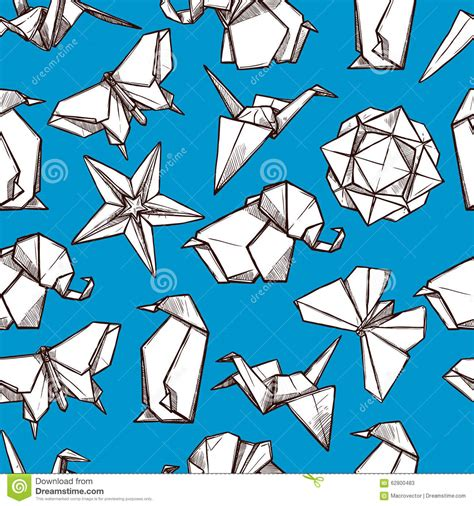Folded Paper Figures - origami paper folded figures seamless pattern stock vector
