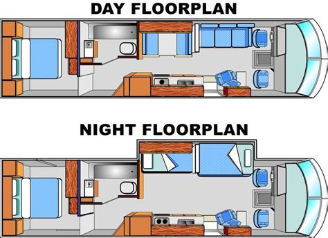 bus motorhome floor plans day night floorplans tiny houses pinterest rv bus