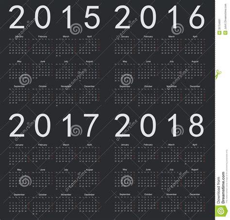 new year 2016 2 weeks set of black square european 2015 2016 2017 201 stock