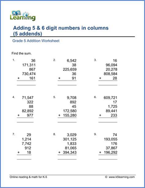 Five Digit Addition Worksheets