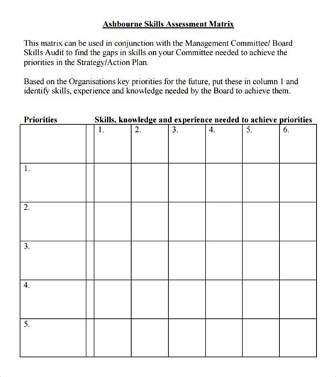 Skills Assessment Matrix Template 8 Sle Skills Assessment Templates To Download For Free Sle Templates