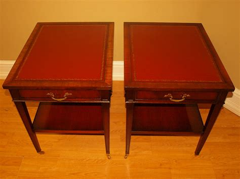 Top End Upholstery by Antique Imperial Mahogany Leather Top End Tables Table