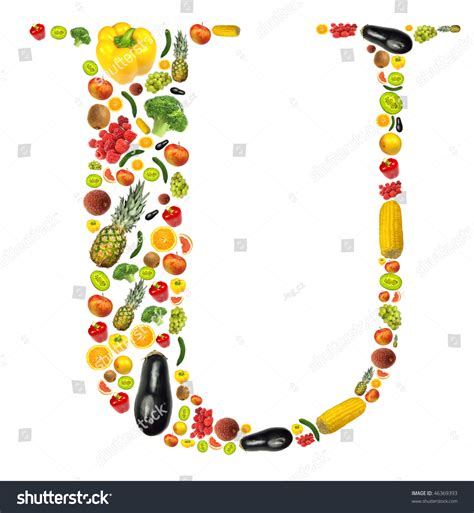 u vegetables letter quot u quot made of fruit and vegetable stock photo