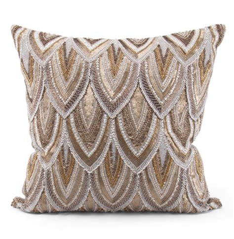 Gold Beaded Pillow cortez copper gold beaded embroidered pillow 22x22 kathy kuo home