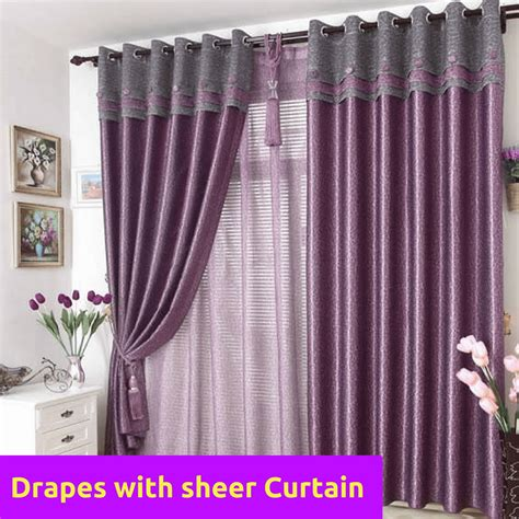 pattern matching fabric curtains blockout purple grey gray valance bedroom curtain rods