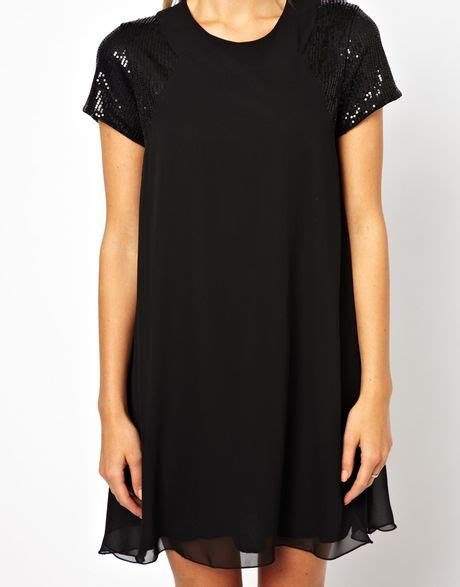 black sequin swing dress love swing dress with sequin sleeve in black lyst