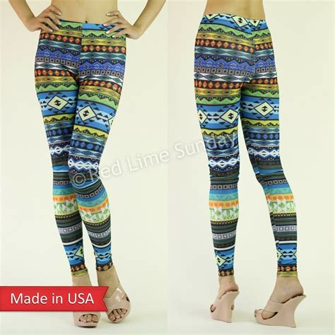 colorful tights new colorful aztec tribal pattern blue print