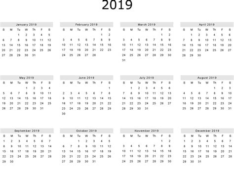 2019 Yearly Calendar Template Word free printable calendar 2019 2019 calendar pdf