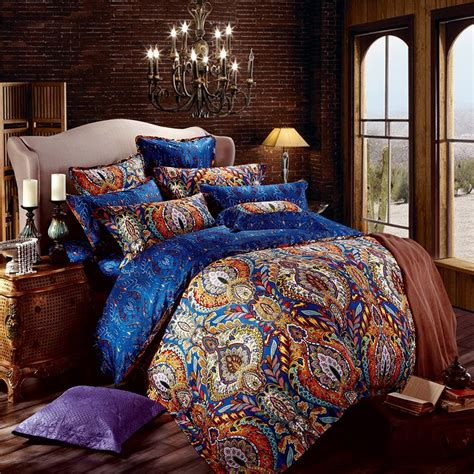 Orange And Blue Quilt Bedding Orange And Royal Blue Bohemian Tribal Style Unique Pattern
