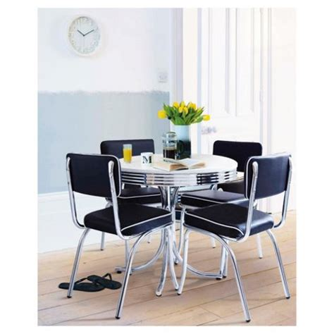 Buy Rydell 4 Seat Round Dining Set With Chairs Black From Tesco Dining Table And Chairs