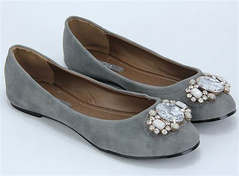 womens grey flat shoes grey color rhinestone flat shoes adworks pk