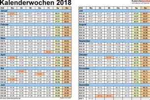 Kalender 2018 Kw Kalenderwochen 2018 Mit Vorlagen F 252 R Excel Word Pdf